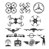 Drone emblems and icons vector illustration