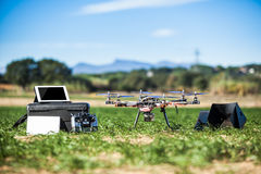 Drone equipment. Professional equipment for drive a drone with tablet, monitor, tv, remote control stock photos