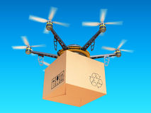 Drone express air delivery in sky, airmail concept. Stock Photos