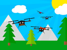 Drone family on the trip flat Stock Image