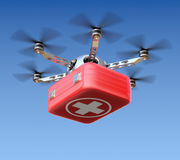 Drone with first aid kit Stock Photos