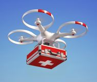 Drone with first aid kit. 3d rendering isolated illustration Royalty Free Stock Image