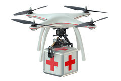 Drone with first aid kit. Isolated on white background Stock Image