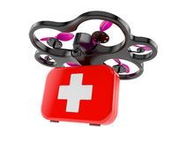 Drone with first aid kit. Isolated on white background Royalty Free Stock Image