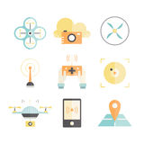 Drone Flat Icons Stock Image