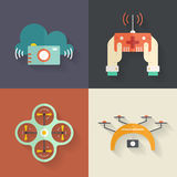 Drone Flat Icons Stock Photos