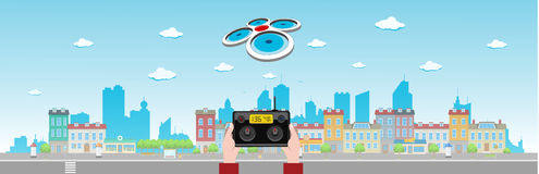 Drone Flies Above Long City Stock Photography