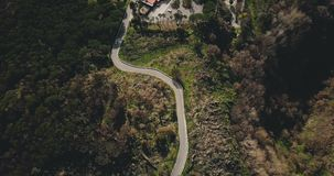 Drone flies above narrow mountain road. Aerial top view of forest driveway opening to passing car and buildings. 4K. Peaceful nature landscape. Big countryside stock video footage