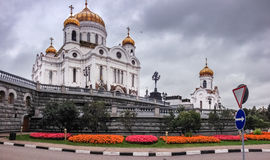 Drone flies near Cathedral of Christ the Saviour in Moscow Stock Photo
