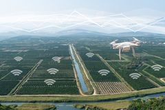 Drone flies over agricultural valley stock photo