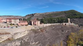 Ancient city fortress bird`s-eye view. Ruin. Old stone buildings