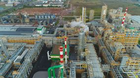 Drone Flies over Refinery Territory with Structures Equipment stock footage
