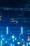Drone flies over spotlight royalty free stock image