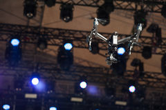 Drone flies over stage stock images