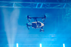 Drone flies over stage Royalty Free Stock Image