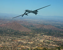 Drone in flight. Unmanned military drone on patrol air to air stock photos