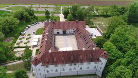 Drone flight around a castle in Uhingen in south germany stock video footage