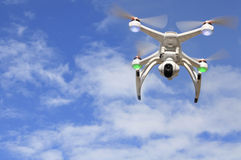 Drone in flight with camera Stock Image