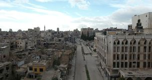 A drone flight on a destroyed city. Of Syria stock video