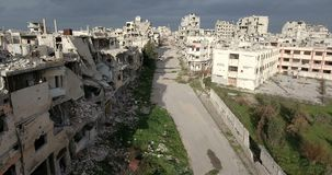 A drone flight on a destroyed city