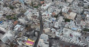 A drone flight on a destroyed city stock footage