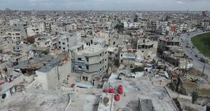 A drone flight on a destroyed city. Of Syria stock footage