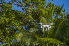 Drone in flight, green trees in the background, selective focus on the drone.  royalty free stock photography