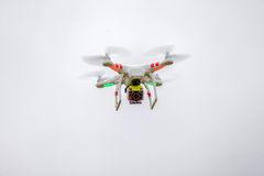 Drone in flight. In a drone in flight image appears on a leaden sky Stock Image