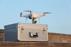 Drone before the flight on metal bag. KAGAWA, JAPAN - APRIL 29, 2017: White drone Dji Phantom4Pro on metal bag and ready to fly Royalty Free Stock Image