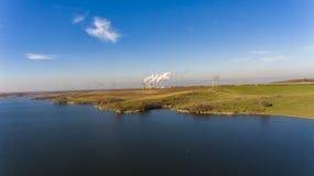 Drone flight over dam royalty free stock photo