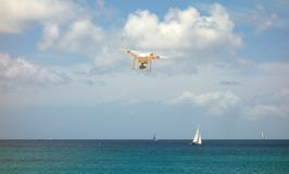 A drone in flight over lower bay beach in the windward islands Stock Image