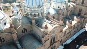 Drone flight over New Cathedral Ecuador. Drone flight over New Cathedral in daytime Ecuador stock video
