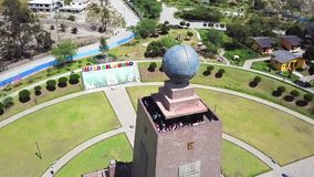 Drone flight over the Park Half of the World in Quito. Drone flight over park Half of the World in Quito dedicated to the equator line built in 1972 and visited stock video