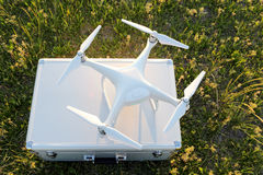 Drone before the flight on a transport metal bag. KAGAWA, JAPAN - APRIL 23, 2017: White drone Dji Phantom4Pro stay on metal bag and ready to fly Stock Images