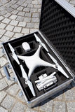 Drone before the flight in a transport metal bag Stock Photo