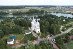 Drone flight view of the Church Of The Transfiguration, Spas-Prognanye village stock photography