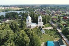 Drone flight view of the Church Of The Transfiguration, Spas-Prognanye village royalty free stock images