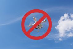 Drone flights prohibited. No drone zone sign. Forbidden quadcopter on a sky background stock photo