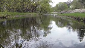 Drone fly above mountain river under tree.  stock video footage