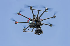 Drone. Fly in blue sky stock photos
