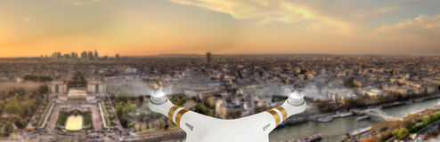 Drone flying above Paris city panorama Stock Image