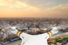Drone flying above Paris city panorama Royalty Free Stock Images