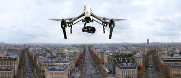 Drone flying above Paris city panorama Royalty Free Stock Image