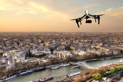 Drone flying above Paris city panorama Stock Photography