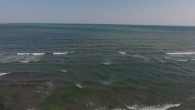 Drone flying above the sea. Drone flight over the ocean, Black Sea, Romania stock video footage
