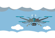 Drone Flying for Aerial Photography or Video Shooting. Flat Design of a helicopter drone with a camera in the clouds. Vector and Raster are available vector illustration