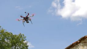 Drone flying in the air. This is hexacopter stock video footage