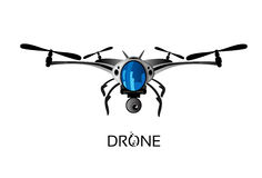 Drone Flying Air Quadrocopter Logo Icon royalty free illustration