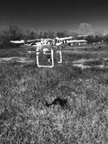 Drone flying black and white Stock Photos