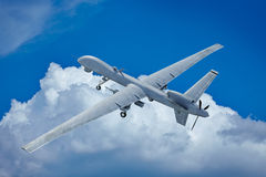 Drone flying in the clouds. Top view stock illustration